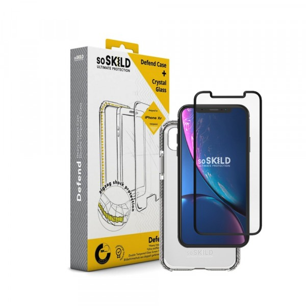 SoSkild Defend Heavy Impact Case Transparant en Tempered Glass voor iPhone Xr