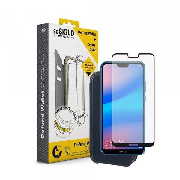 SoSkild Defend Wallet Impact Case Zwart en Tempered Glass voor Huawei P20 Lite