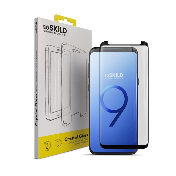 SoSkild Full Glue Tempered Glass Screenprotector Zwart voor Samsung Galaxy S9+