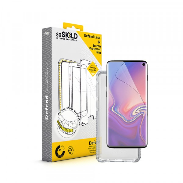 SoSkild Samsung Galaxy S10 Defend Heavy Impact Case Transparent and Tempered Glass