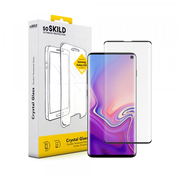 SoSkild Samsung Galaxy S10 Crystal Double Tempered Glass Screenprotector Zwart
