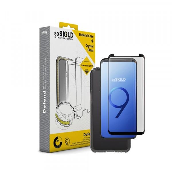 SoSkild Defend Heavy Impact Case Smokey Grey en Tempered Glass voor Samsung Galaxy S9