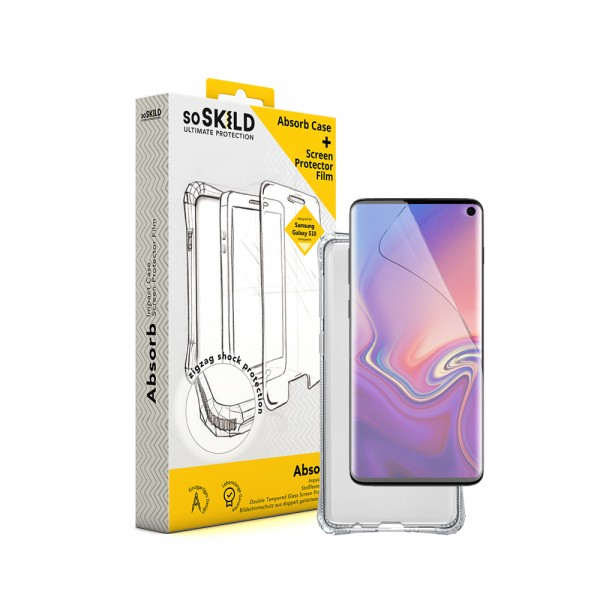 SoSkild Samsung Galaxy S10 Absorb Impact Case Transparent and Tempered Glass