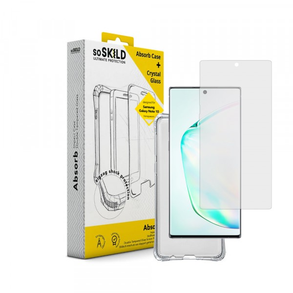 SoSkild Impact Case Transparent en Tempered Glass voor Samsung Galaxy Note10 Absorb 2.0