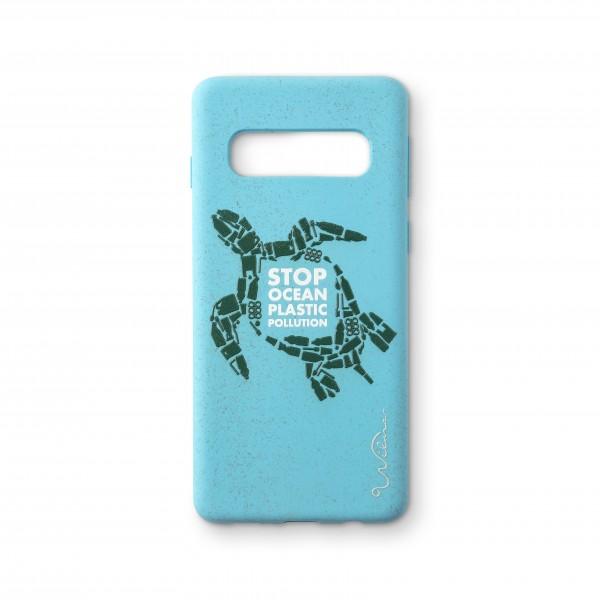 Wilma Smartphone Eco Case Bio Degradeable Stop Ocean Plastic Turtle Light Blue voor Samsung Galaxy S