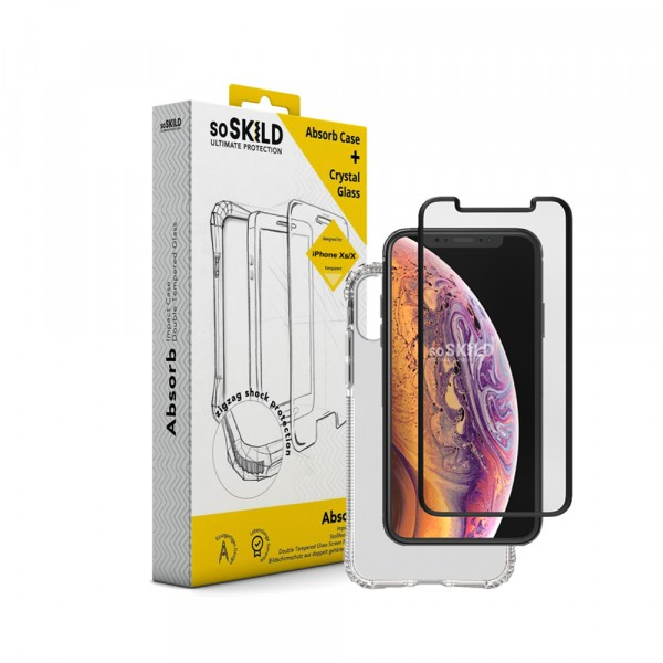 SoSkild Absorb Impact Case Transparant en Tempered Glass voor iPhone X Xs