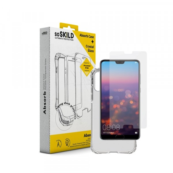 SoSkild Absorb Impact Case Transparant en Tempered Glass voor Huawei P20