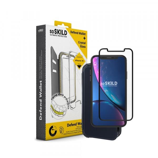 SoSkild Defend Wallet Impact Case Zwart en Tempered Glass voor iPhone Xr