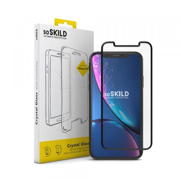 SoSkild Crystal Double Tempered Glass Screenprotector Zwart voor iPhone Xr en iPhone 11