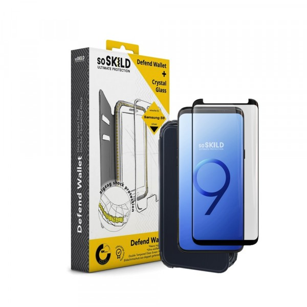 SoSkild Defend Wallet Impact Case Zwart en Tempered Glass voor Samsung Galaxy S9