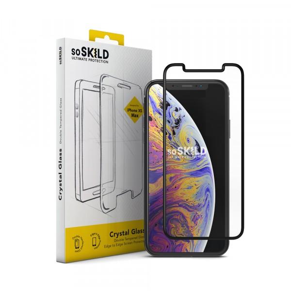 SoSkild Crystal Double Tempered Glass Screenprotector Zwart voor iPhone Xs Max en iPhone 11 Pro Max
