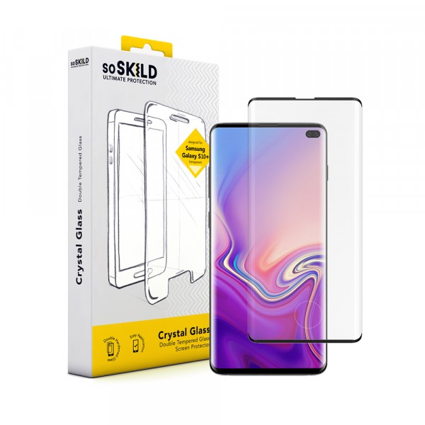 SoSkild Samsung Galaxy S10+ Crystal Double Tempered Glass Screen Protector Black